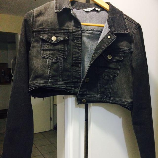 Woman Dark Gray Denim Jacket