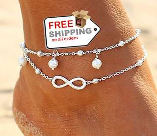 1Pcs Beach Ankle Infinite Foot Bracelets Fashion Jewelry + Free Shipping