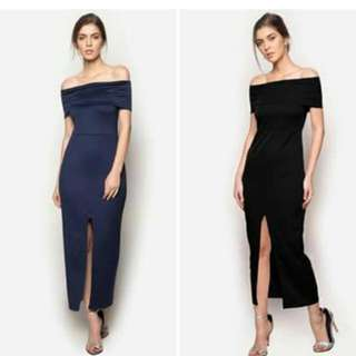 Off Shoulder Front Slit Long Dress
