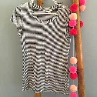 Black And White Striped Tshirt
