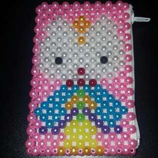 Beads Coin/Card Pouch - Kitty In Kimono