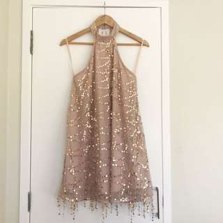 Nude Sparkly Party Dress