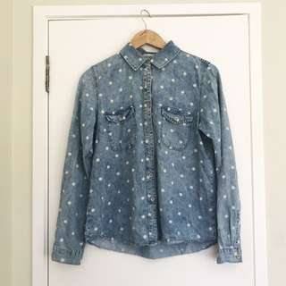 Polkadot Light Denim Long Sleeve Shirt
