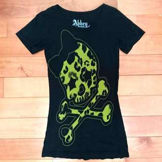 Avril 艾薇兒自創品牌 Abbey DAWN 蝴蝶結豹紋骷髏頭上衣 T-shirt