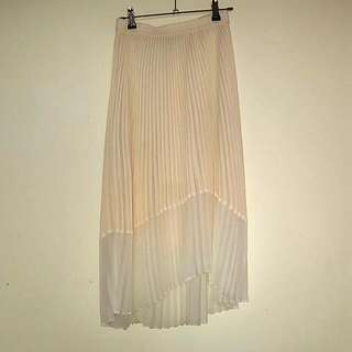 Pleated Midi Skirt In Cream/White, Size 6