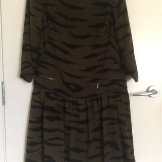 Country Road Khaki Zebra pattern dress