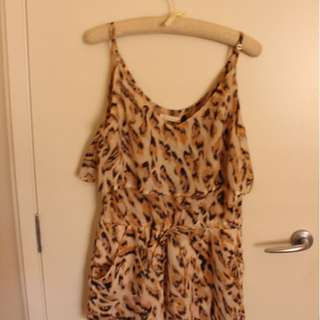 Sass Leopard Print Playsuit - Silk-like material with pretty frill detail
