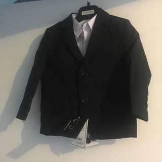 Ollies Place Slim Fit Black Toddler 4pc Suit
