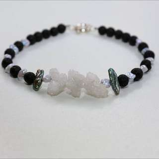 Crystal Pearl Lava Rock Necklace