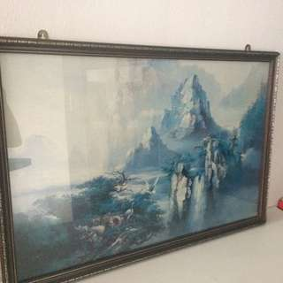Mountain And Crane Painting