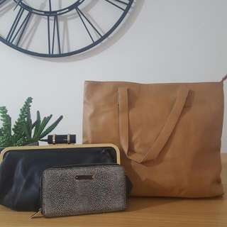 Large Tan Bag Plus Wallet Plus Clutch