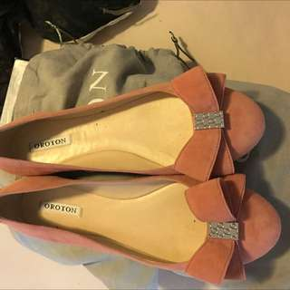 Womens Sepia Suede Bow Ballet Flats Cotton Pink
