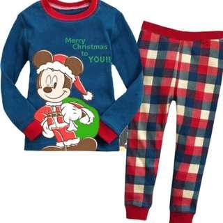 Baju tidur anak laki-laki/Piyama GAP Hk Boy Mickey Christmas Blue