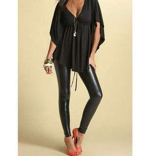 歐美時尚休閒寬鬆V領蝙蝠袖上衣XXL大尺碼