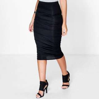 Boohoo Navy Ruched Sides Jersey Midi Skirt