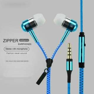 Headset Zipper Earphone Seleting Resleting Handsfree Bass + Mic