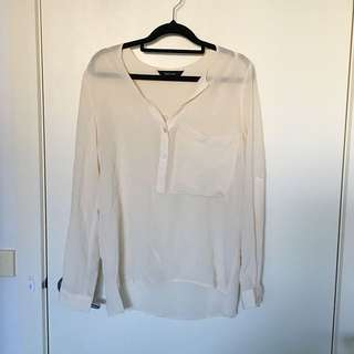 Decjuba Cream White Top Long Sleeve