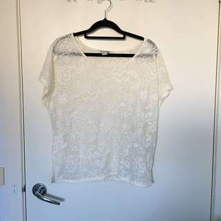 Forever 21 White Cream Floral Top