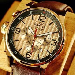 Invicta Men's 46mm I-Force Lefty Chronograph Rose Tone Stainless Steel Brown Leather Watch rolex omega seiko casio