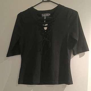 Black Corset Neck Top