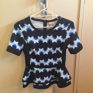 H&M Printed Peplum Top