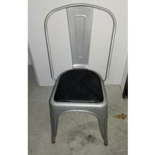 Industrial Metal Chair C/W Leather Cushion