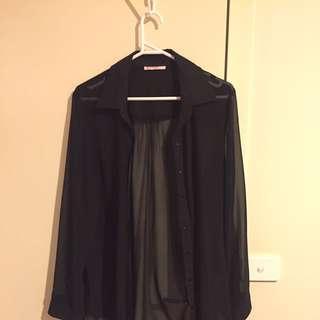 Ladies Sheer Black Shirt