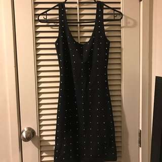 Black Singlet Dress With Metal Embellishments