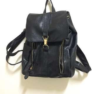 金拉鍊黑色後背包 #免購物直接送