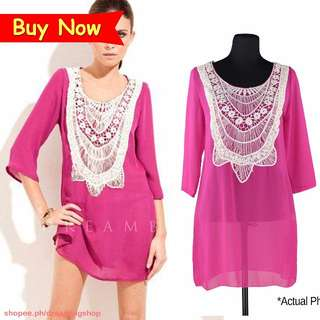 Hot Pink and White Lace Beach Dress Cover Up