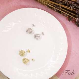 金屬纏繞珍珠耳環(2色)