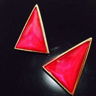 High Quality Earring Red Crystal Gold Frame