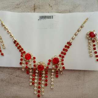 Red and Gold coloured Indian Neclace and Earring Set