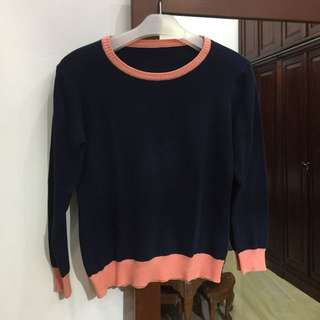 Navy-Pink Sweater
