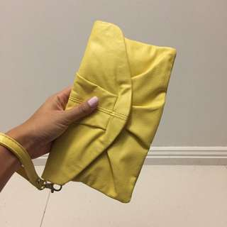Yellow Clutch/ Purse With Wrist Strap