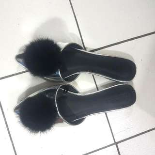 Fur Pointed Silver Flats