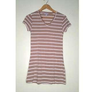 Cotton Brown White Shirt Dress