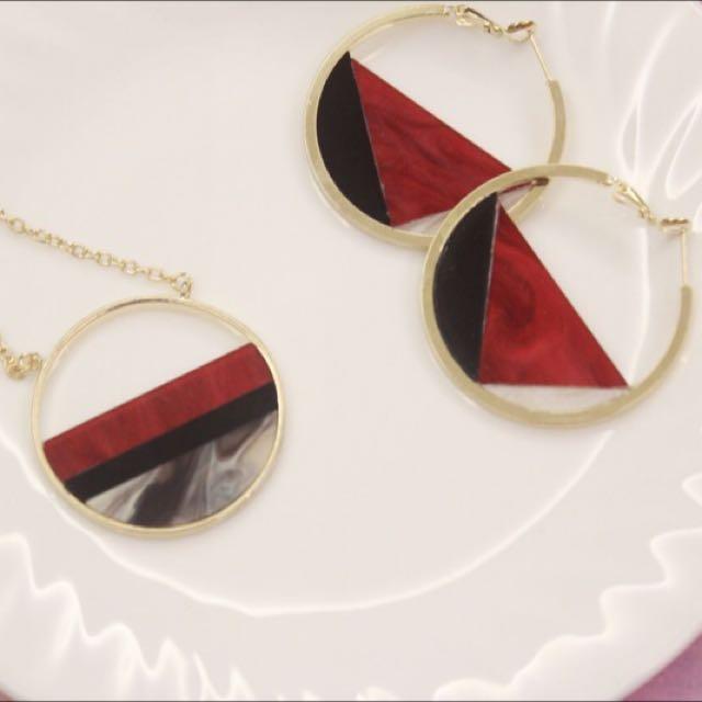 大理石感耳環(2色)
