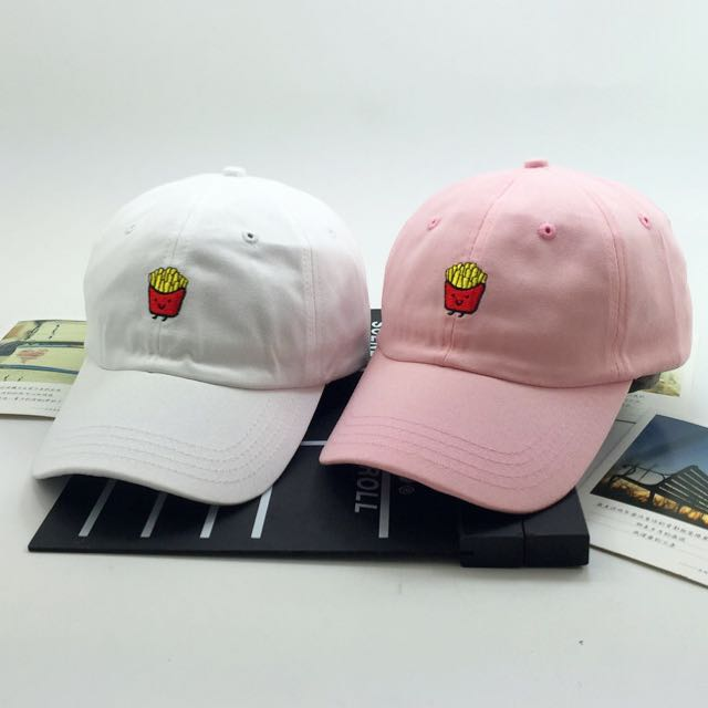 430 tumblr korean ulzzang cute embroidered french fries baseball cap ... 5d8bf31a4fd3
