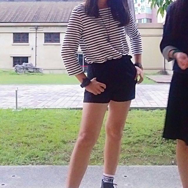 黑白條紋連身褲裝