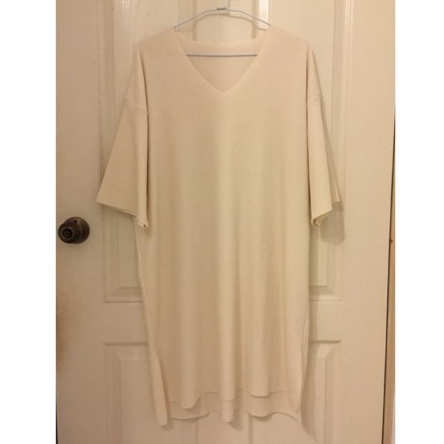 超舒適米白色長版洋裝