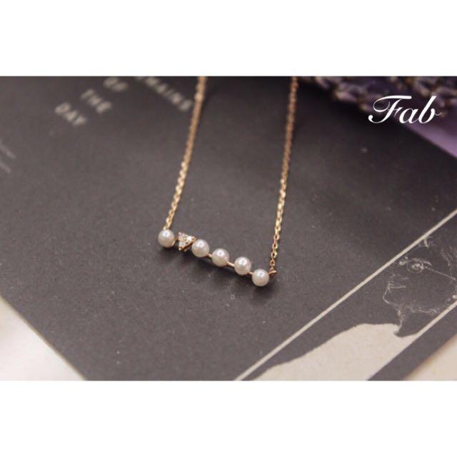 珍珠排列小水鑽項鍊/鎖骨鏈
