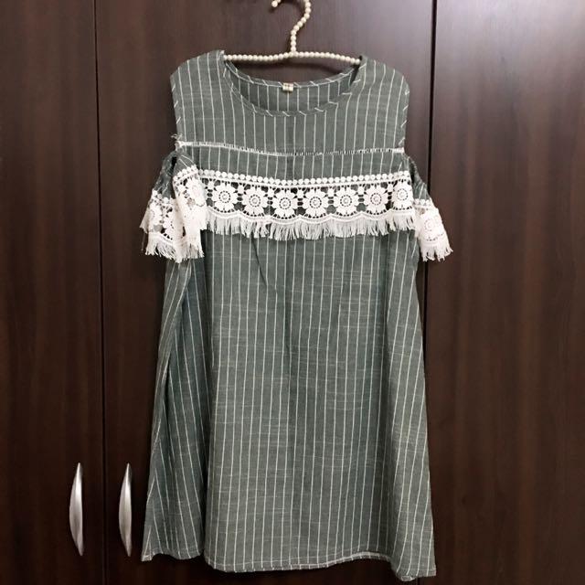 👶棉麻材質挖肩露肩蕾絲花邊傘狀孕婦裝/中尺碼/大尺碼洋裝
