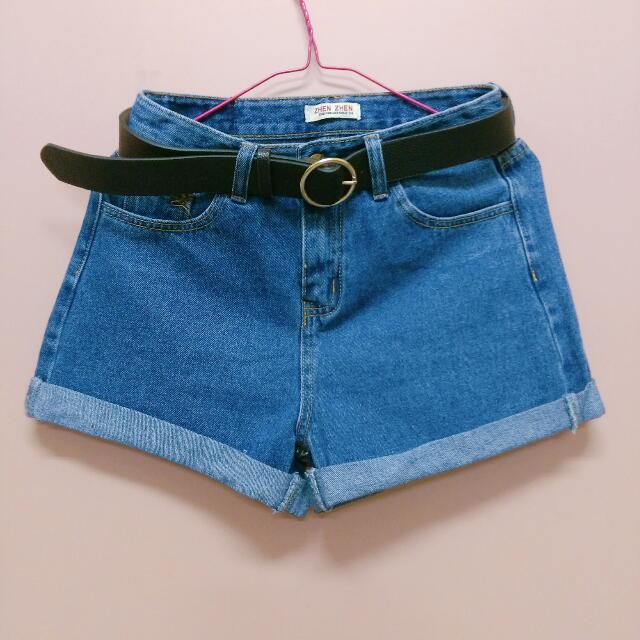 [全新] 深藍反摺褲管捲邊牛仔短褲