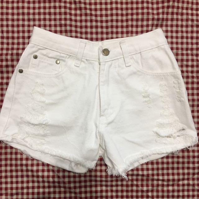 高腰 刷破 短褲 白褲