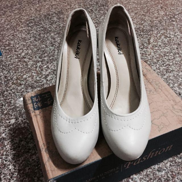 牛皮白色高跟鞋 婚紗 舞會 表演