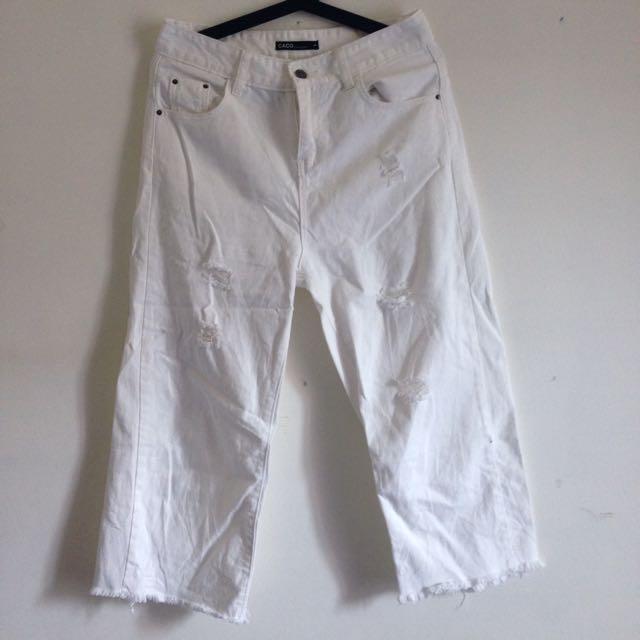 含運 加州椰子 CACO 白 刷破 下擺抽鬚 牛仔 寬褲