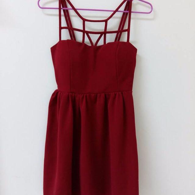 air space 純紅色設計款小禮服 短洋裝
