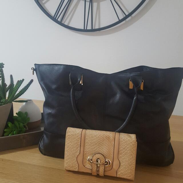 Black Bag And Tan Wallet