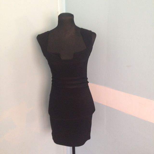 Black Mesh Fitted Dress